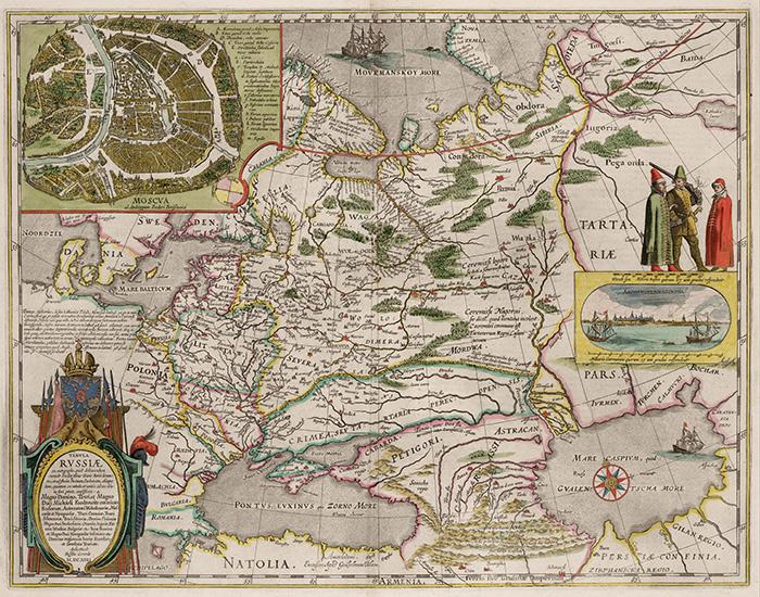 Карта России из атласа Виллема Блау. 1645 год