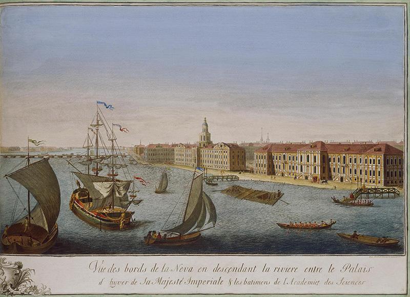 Вид вниз по Неве-реке между Зимним дворцом и Академией наук. Рисунок Михаила Махаева. 1753 год Государственный Эрмитаж
