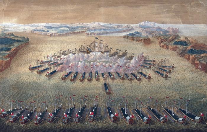 Гангутское сражение. Гравюра Маврикия Бакуа. 1724–1727 годы Wikimedia Commons