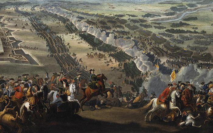 Сражение между русскими и шведскими войсками у Полтавы 27 июня 1709 года. Картина Пьера Дени Мартена Младшего. После 1724 года Государственный Эрмитаж