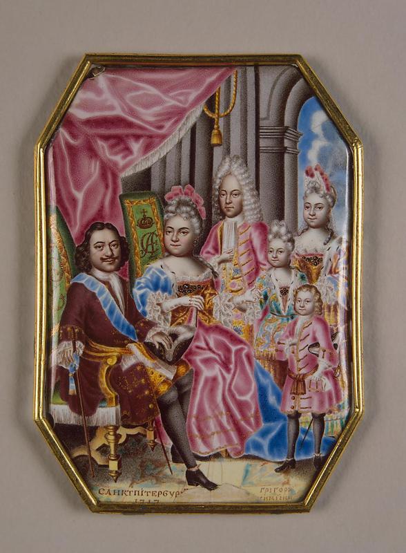 Семья Петра I. Миниатюра на эмали Григория Мусикийского. 1716–1717 годы Государственный Эрмитаж