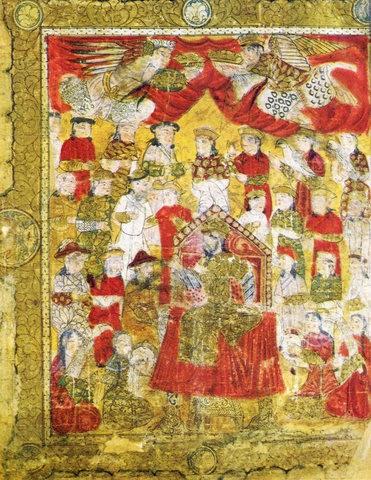 Прием Махмуд-шахом Инджу монгольских послов. Левая часть фронтисписа поэмы Фирдауси «Шах-нама». 1333 годРоссийская национальная библиотека, Санкт-Петербур