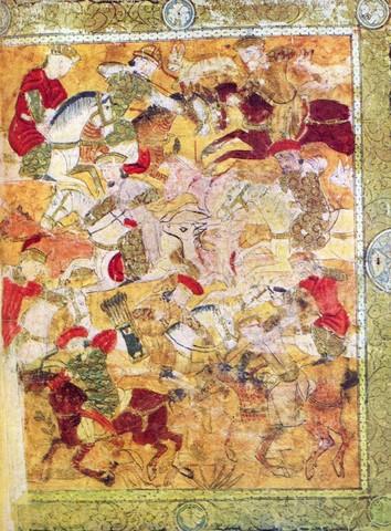 Охота. Правая часть фронтисписа поэмы Фирдауси «Шах-нама». 1333 годРоссийская национальная библиотека, Санкт-Петербург