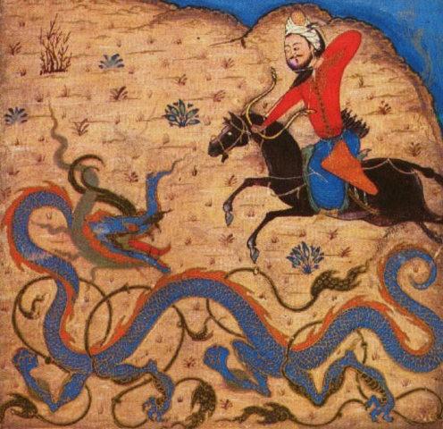 Битва Бахрама Гура с драконом. Миниатюра из поэмы Фирдауси «Шах-нама». 1371 годTopkapı Sarayı Müzesi