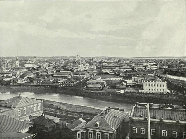 Общий вид с Воскресенской горы на Новособорную площадь. Томск, 1899 год© Wikimedia Commons2