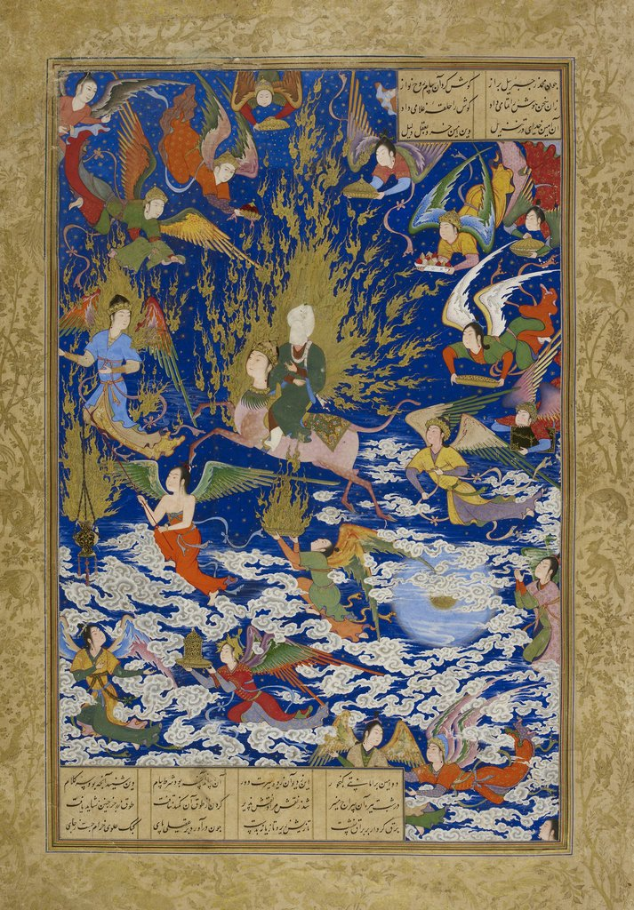 Султан-Мухаммад. Вознесение (ми'радж) пророка Мухаммада. Миниатюра из«Пятерицы» («Хамсе») Низами.1539–1543годыThe British Library