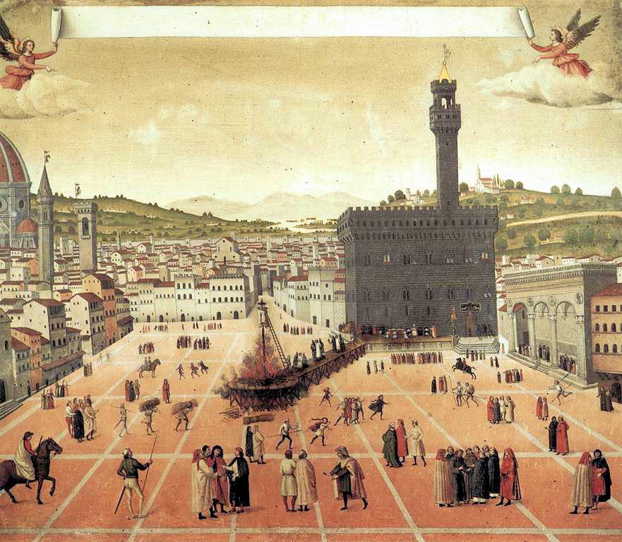Повешение и сжигание Джироламо Савонаролы на Пьяцца делла Синьория во Флоренции в 1498 году. Картина неизвестного художника. 1498 год© Museo di San Marco, Florence