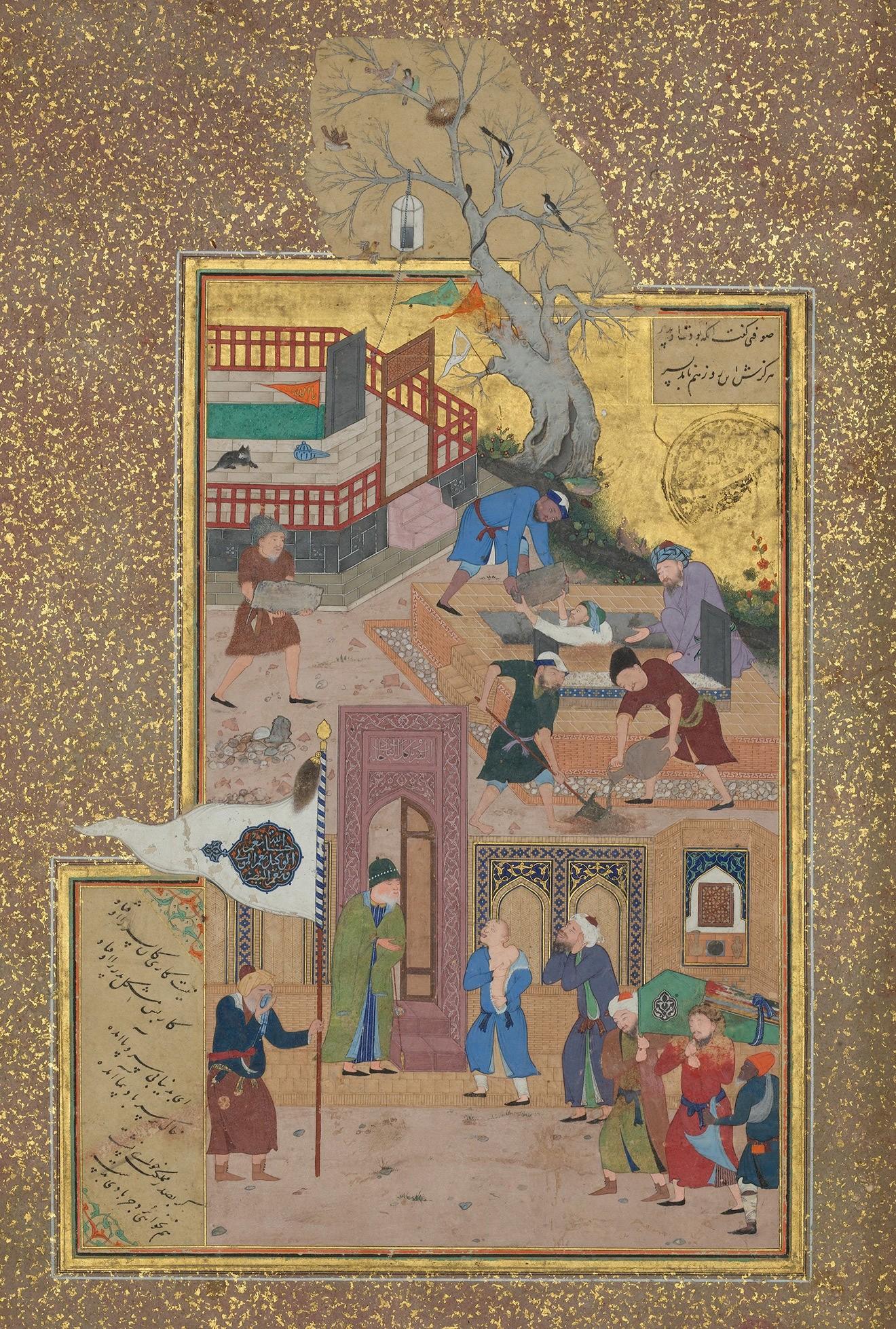 Бехзад. Похоронная процессия. Миниатюра из «Мантик ат-Тайр» Аттара. 1487 годThe Metropolitan Museum of Art
