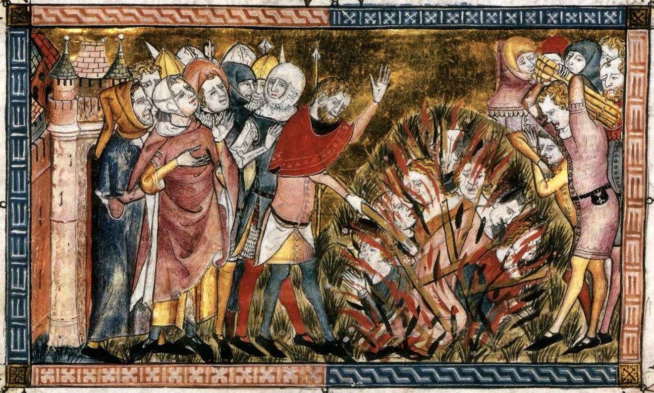 Сожжение евреев во время чумы. Миниатюра из рукописи Жиля Ле Мюизи «Antiquitates Flandriae». 1349–1352 годы / Bibliothèque royale de Belgique