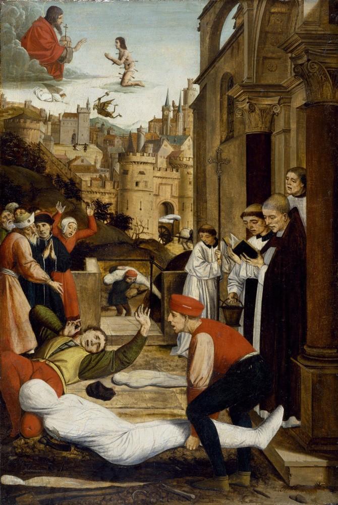 Святой Себастьян молится за жертв Юстиниановой чумы. Йос Лиферинкс. 1497–1499 годы / The Walters Art Museum