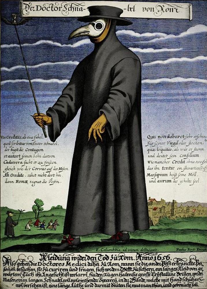Доктор Шнабель фон Ром (Доктор Клюв Рима). Гравюра с изображением чумного доктора, выполненная Паулем Фюрстом. После 1656 года / Wikimedia Commons