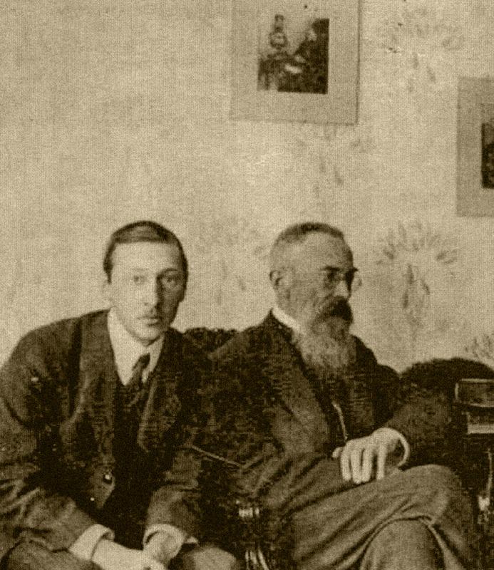 Игорь Стравинский (слева) в гостях у Николая Римского-Корсакова. 1908 год / Научная музыкальная библиотека имени С. И. Танеева