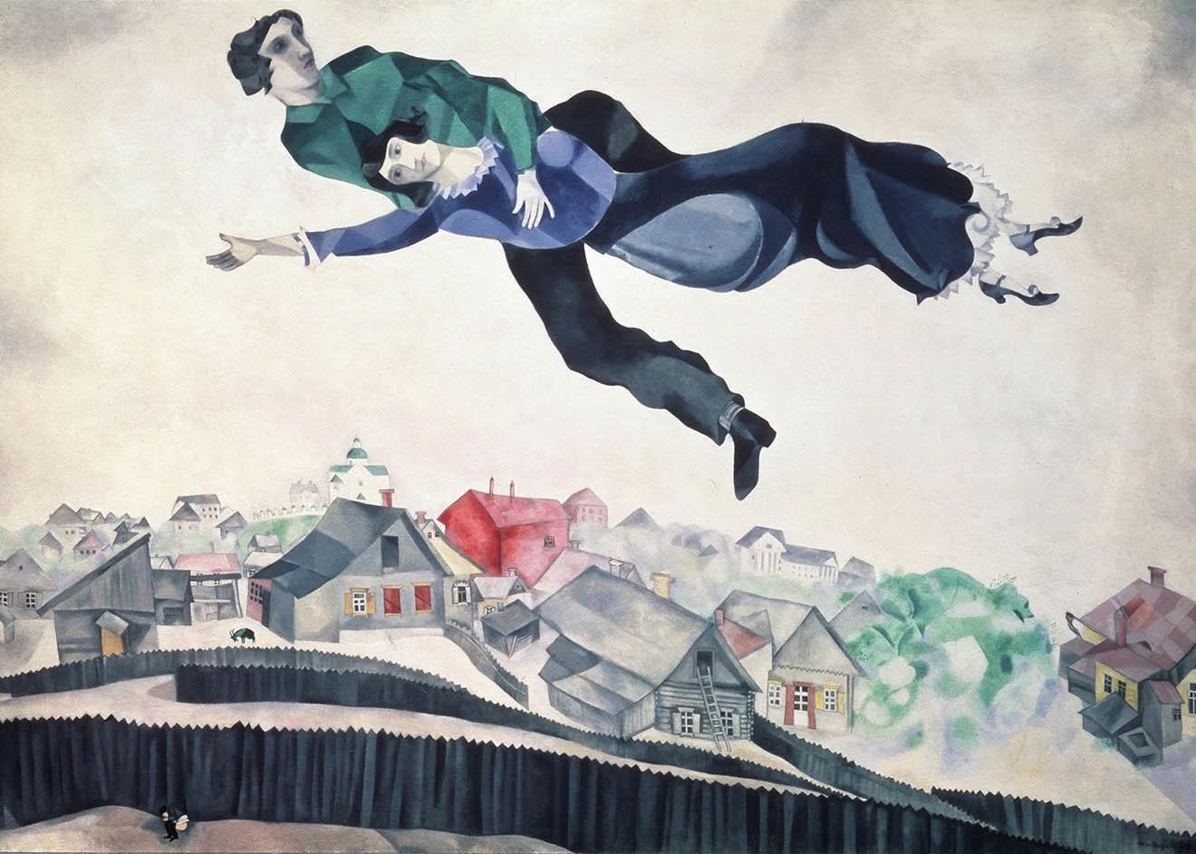 Над городом. Картина Марка Шагала. 1914–1918 годы / Государственная Третьяковская галерея / © Fine Art Images / Diomedia