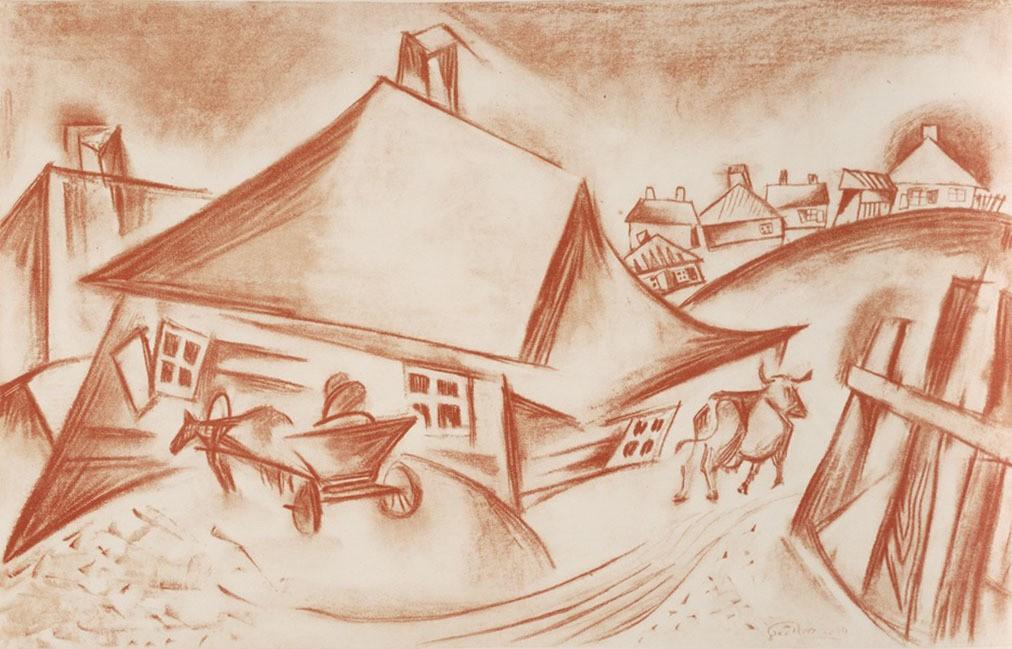 Литография Иссахара Бера Рыбака из серии «Штетл. Мой разрушенный дом. Воспоминание». 1923 год / Beinecke Rare Book & Manuscript Library