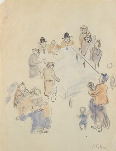 За столом. Рисунок Иссахара Бера Рыбака. 1930-е годы  Comité & Foundation Issachar Ber Ryback