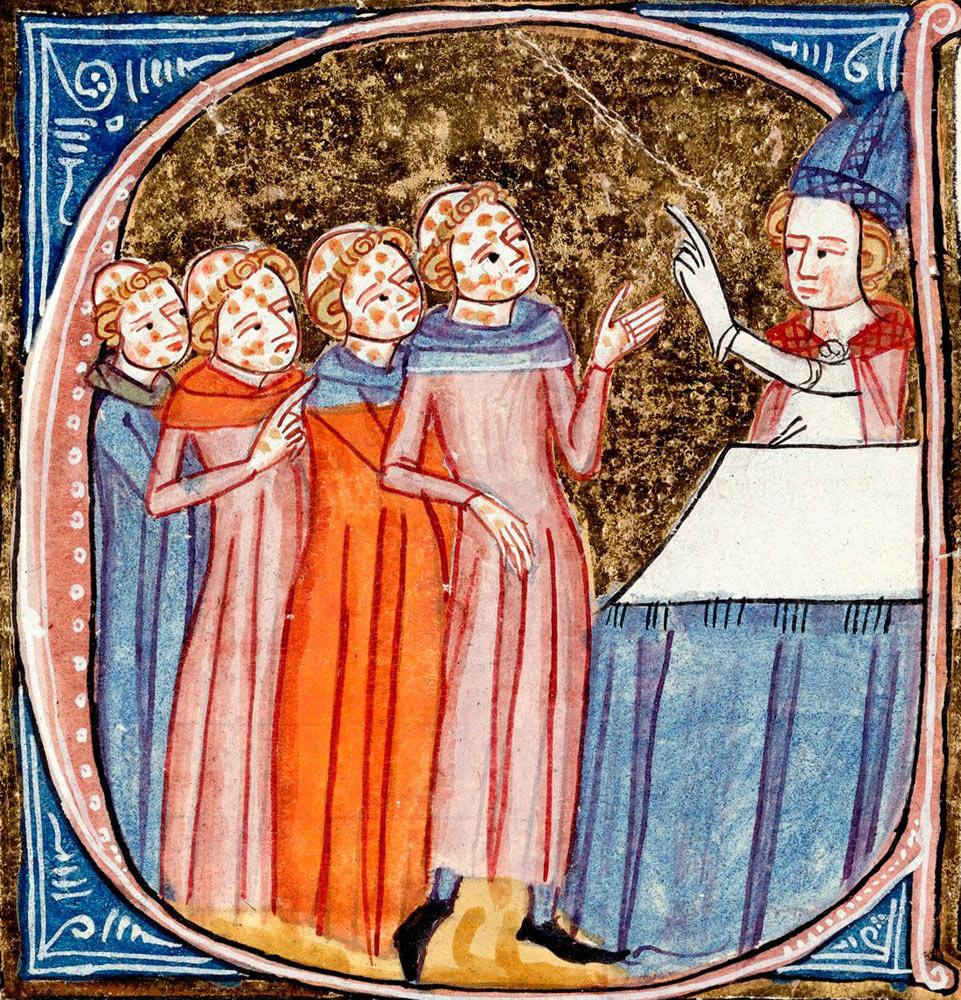 Епископ проповедует прокаженным. Миниатюра из манускрипта «Всякое благо» Джеймса ле Палмера. Лондон, 1360–1375 годы / British Library