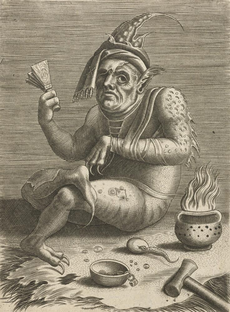 Прокаженный нищий в образе дьявола. Гравюра неизвестного последователя Иеронима Босха. 1474–1566 годы / Rijksmuseum