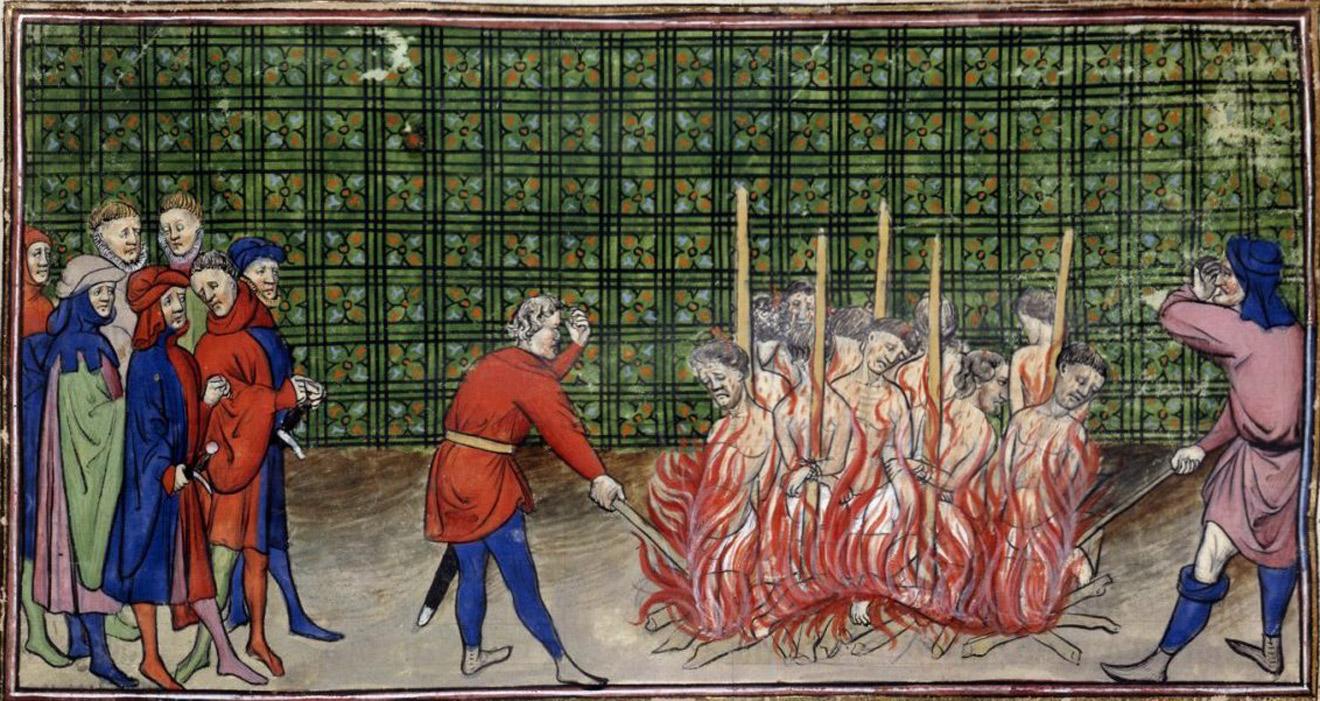 Сожжение прокаженных. Миниатюра из манускрипта «Большие французские хроники». Около 1270–1380 годов / British Library