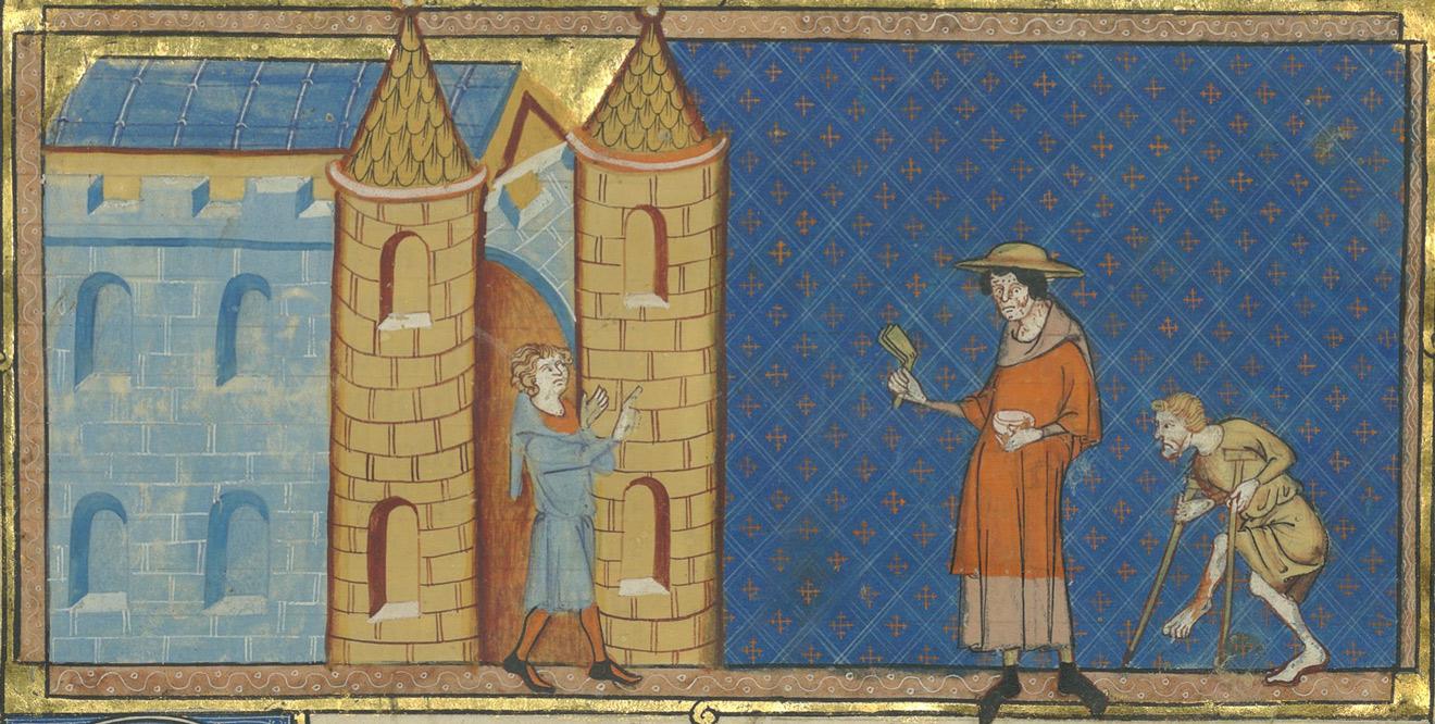 Двум прокаженным запрещен вход в замок. Миниатюра из манускрипта «Историческое зерцало» Винсента из Бове. 1332–1335 годы / Bibliothèque nationale de France