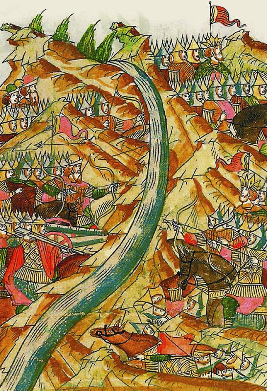 Стояние на реке Угре в 1480 году. Миниатюра из Лицевого летописного свода. XVI век© Wikimedia Commons