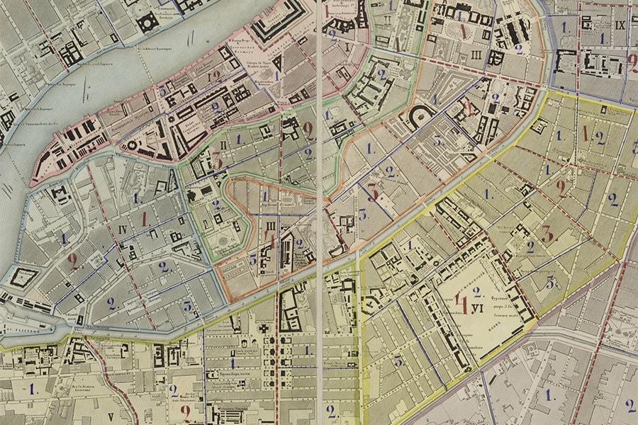 «План столичного города С. Петербурга, вновь снятый в 1858 году и гравированный при Военно-топографическом депо в 1860 году. Исправлен по 1865 год» (фрагмент). 1865 год
